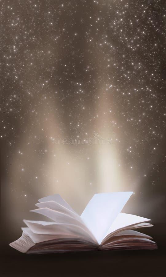 Un libro aperto con una fantasia magica Illustrazione di vista di notte con un libro royalty illustrazione gratis
