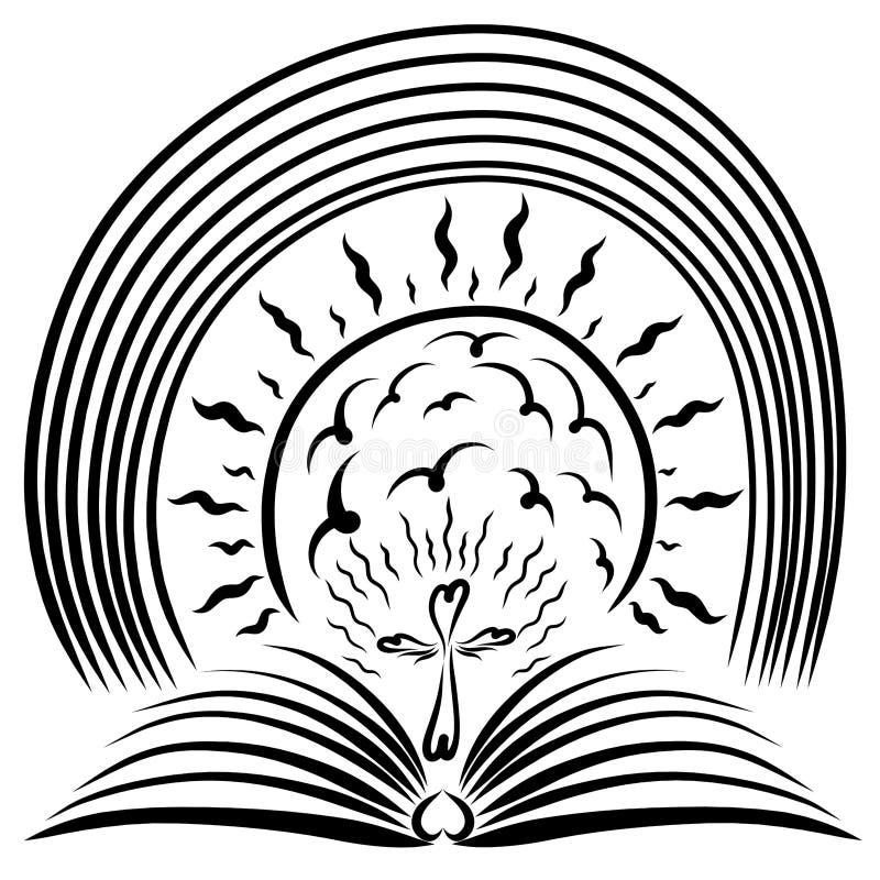Un libro aperto, un incrocio, un sole brillante e un arcobaleno illustrazione di stock