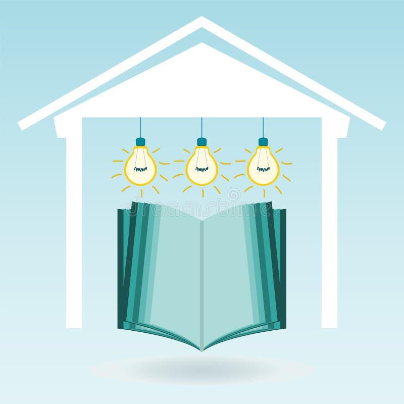 Un libro aperto nella casa sotto le lampade elettriche royalty illustrazione gratis