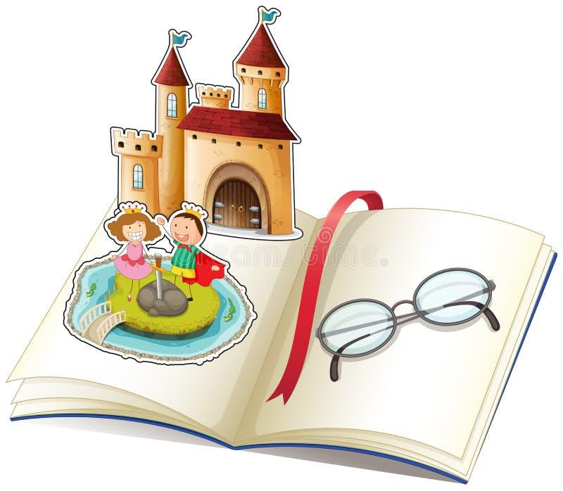 Un libro con un castillo y los vidrios de una lectura stock de ilustración