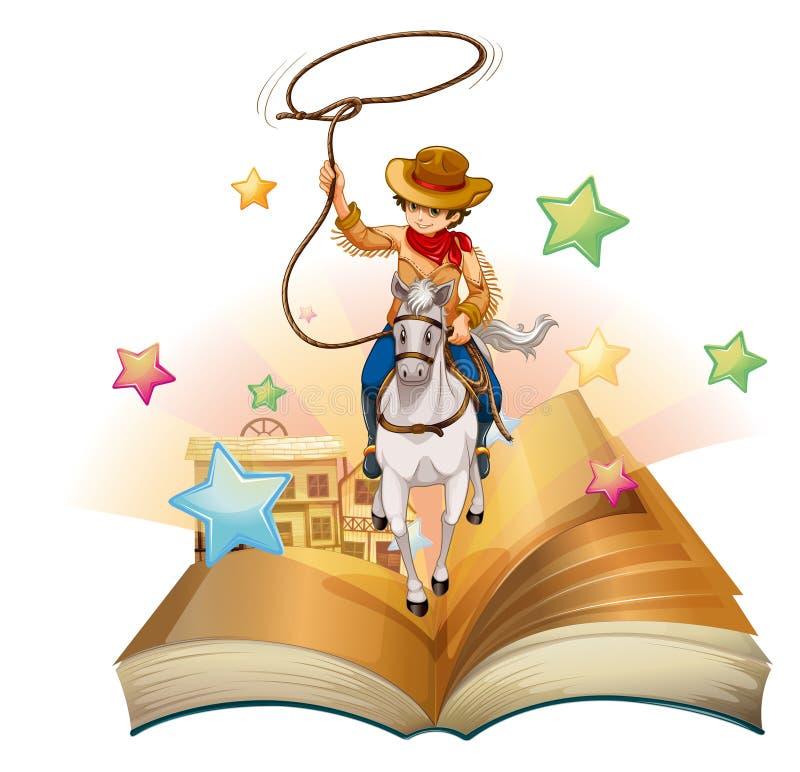 Un libro con un vaquero que lleva a cabo una cuerda ilustración del vector