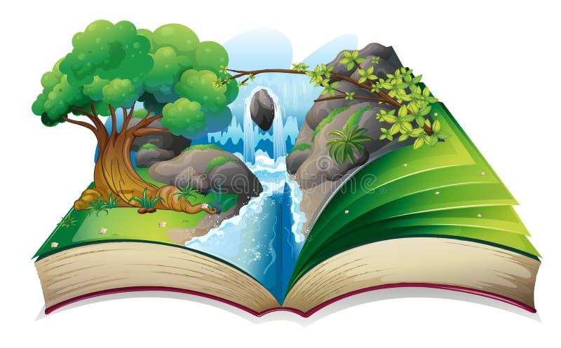 Un libro con una imagen de un bosque ilustración del vector