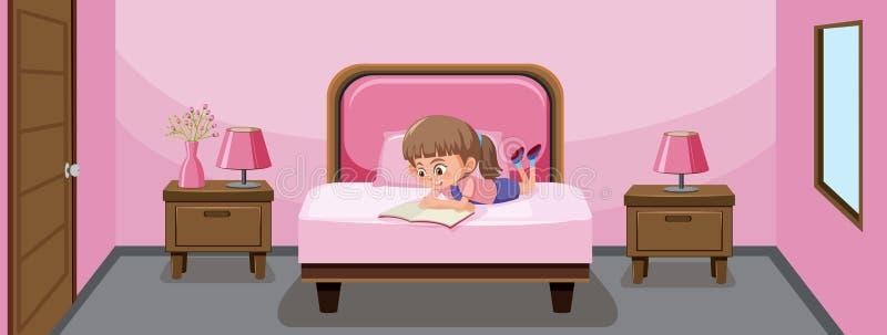 Un libro de lectura de la muchacha en cama ilustración del vector