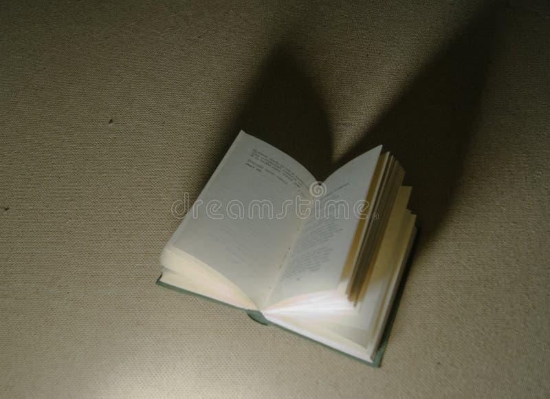 Un libro della poesia che si trova aperto alla scarsa visibilità con le pagine smazza fuori fotografie stock libere da diritti