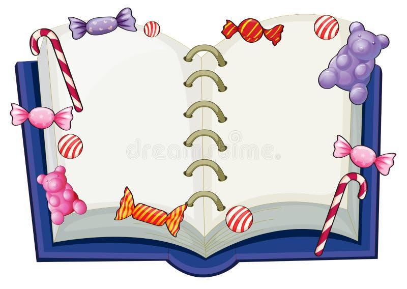 Un libro rodeado con los caramelos dulces libre illustration