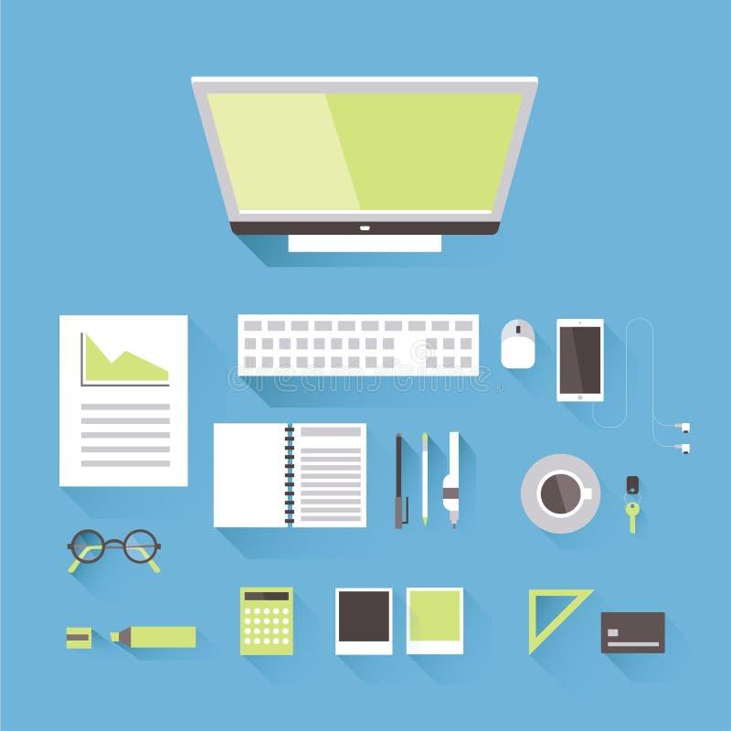 Un lieu de travail des affaires ou d'une personne créative, vue supérieure Moniteur avec le clavier et la souris, téléphone, calc illustration de vecteur