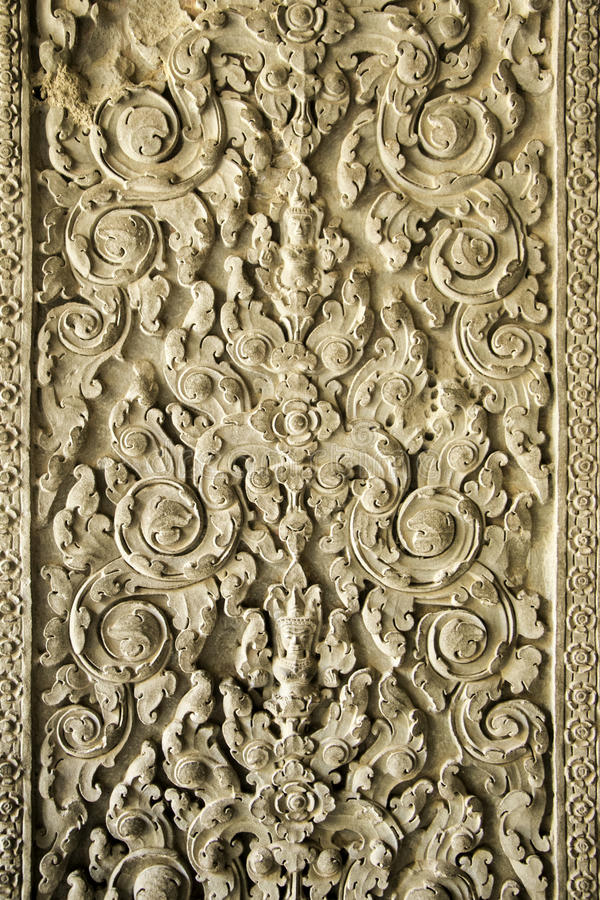 Un'Linea-arte stupefacente sulla parete di Angkor Wat, Cambogia immagini stock
