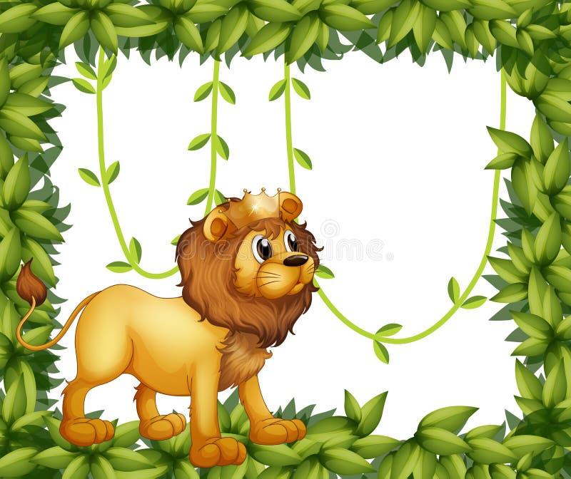 Un lion de roi dans un cadre feuillu illustration stock