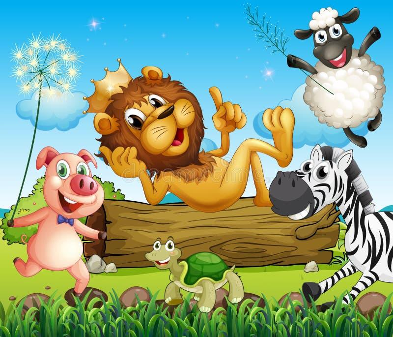 Un lion de roi entouré avec des animaux illustration libre de droits