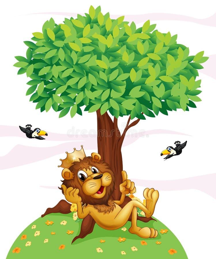 Un lion de roi et les deux oiseaux illustration de vecteur