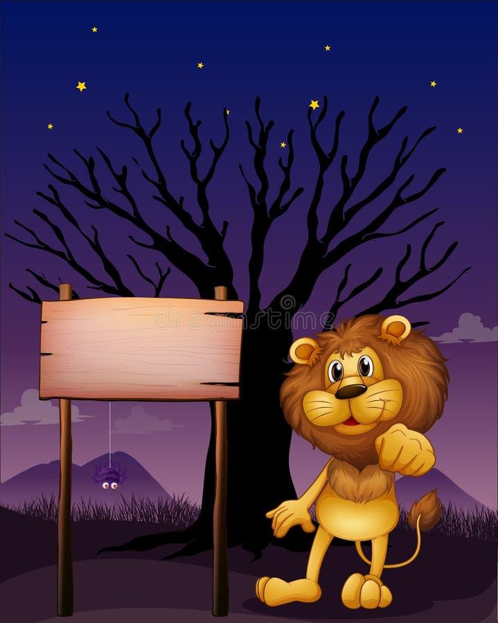 Un Lion Et L Enseigne En Bois Dans Un Voisinage Foncé Photographie stock libre de droits
