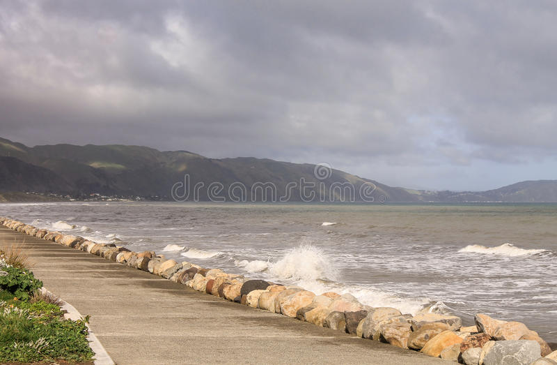 Un littoral dans la côte de Kapiti images libres de droits
