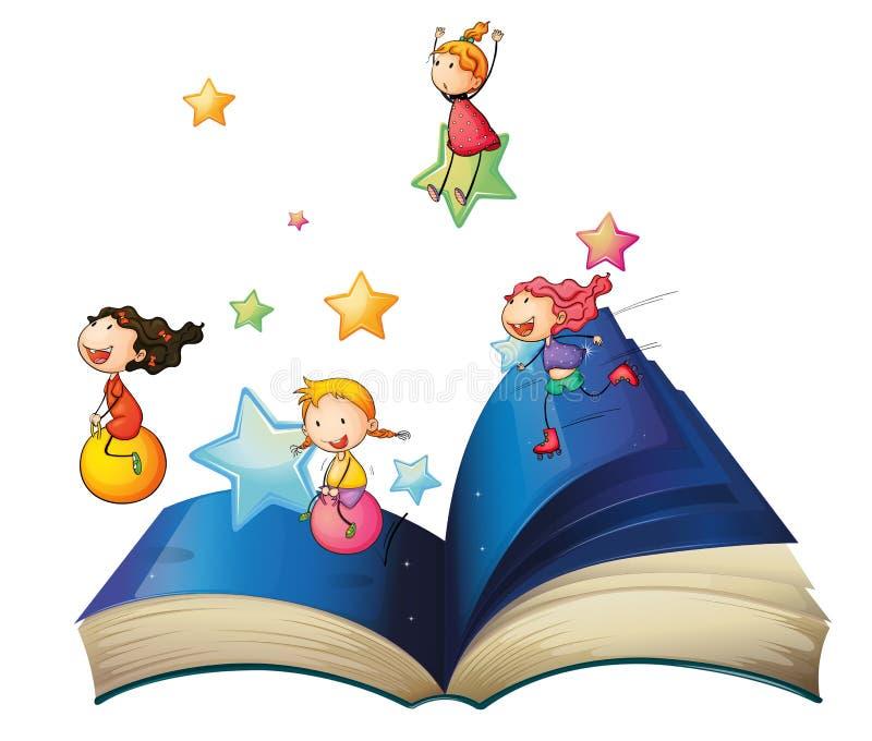 Un livre avec jouer d'enfants illustration stock