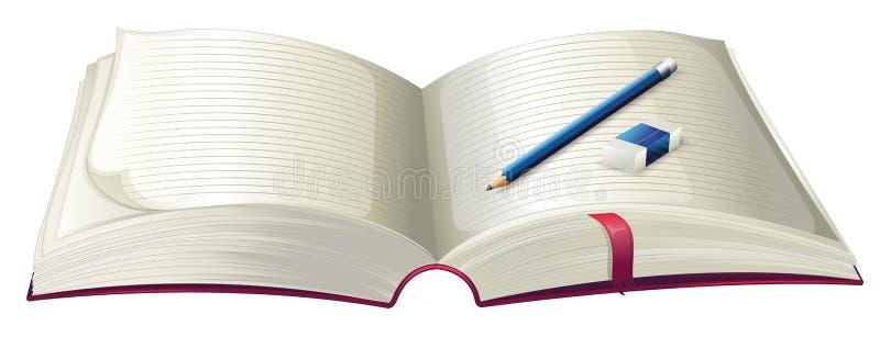 Un livre avec un crayon et une gomme illustration de vecteur