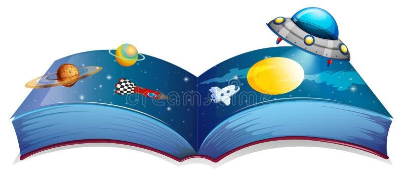 Un livre avec une image d'un vaisseau spatial et des planètes illustration de vecteur