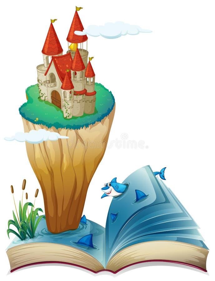 Un livre avec une image d'une île avec un château illustration de vecteur