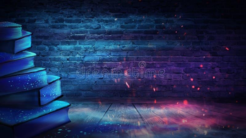 Un livre ouvert avec une imagination magique Illustration de vue de nuit avec un livre illustration libre de droits