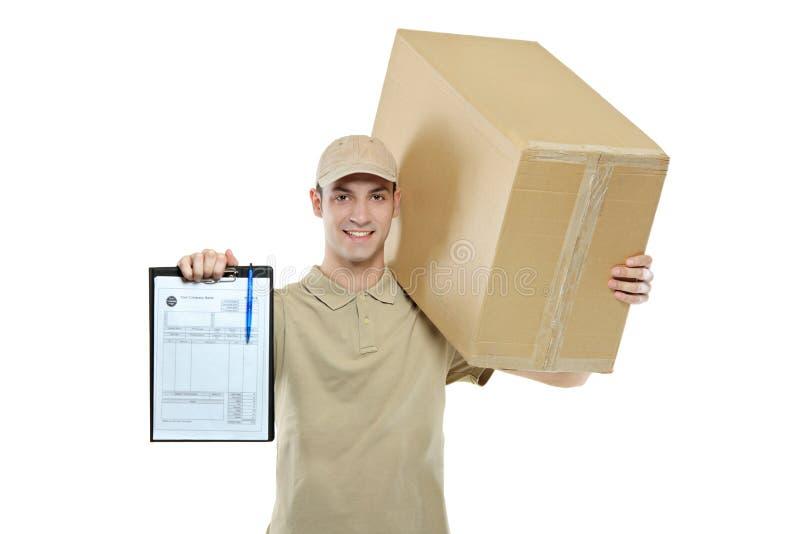 Un livreur portant un module photos stock