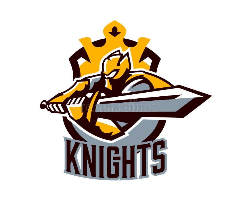 Un logo coloré, un autocollant, un emblème, un chevalier attaque avec une épée Armure d'or du chevalier, paladin, épéiste illustration stock