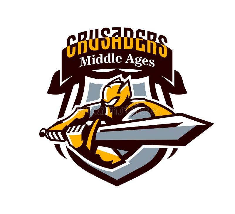 Un logo coloré, un autocollant, un emblème, un chevalier attaque avec une épée Armure d'or du chevalier, paladin, épéiste illustration libre de droits