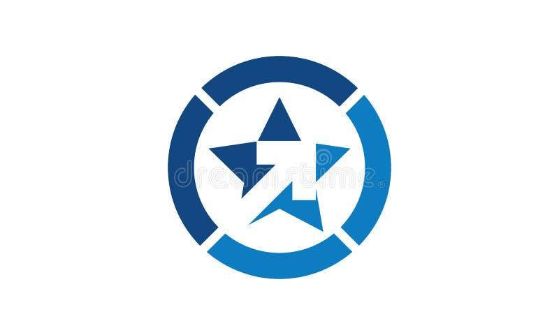 Un logo d'étoile dans un cercle tout dans la couleur bleue illustration de vecteur