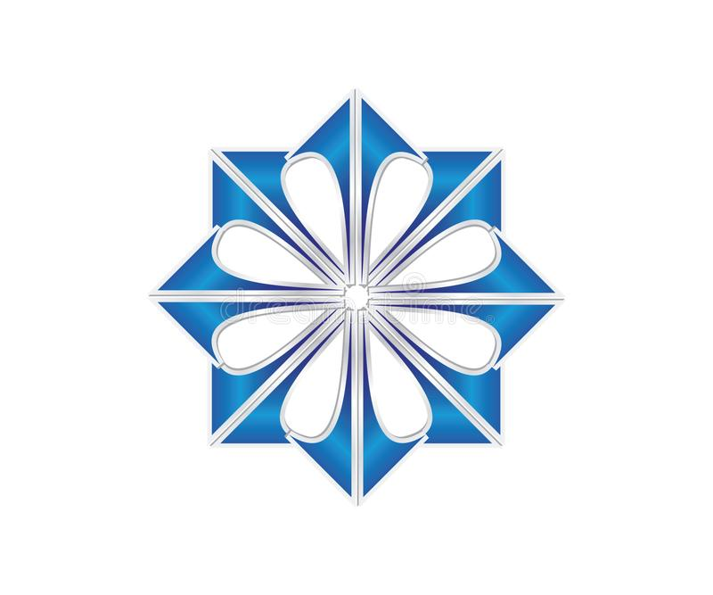 Un logo de flèche dans la couleur bleue formant une image de fleur illustration libre de droits
