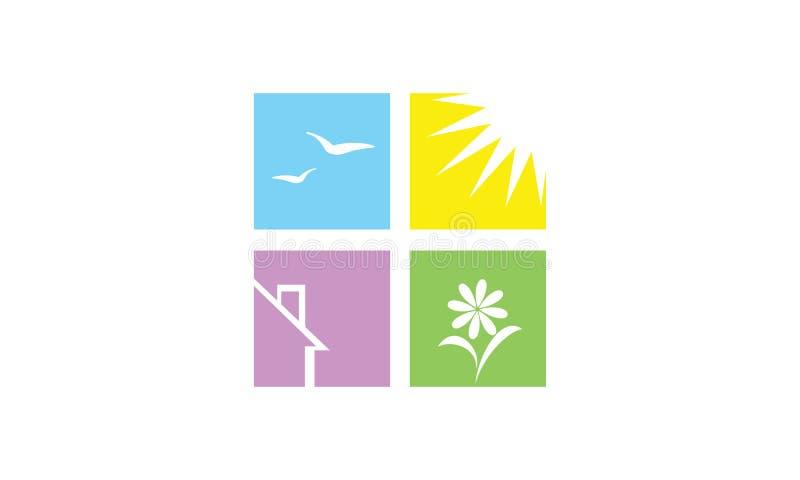 Un logo de quatre panneaux d'une maison oiseaux et soleil d'une fleur illustration stock