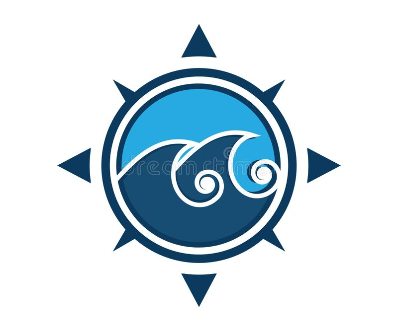 Un logo de vague dans une boussole dans la couleur bleue illustration libre de droits