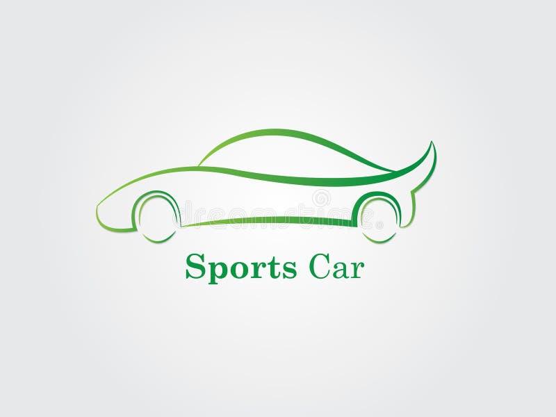 Un logo dell'automobile sportiva di verde su fondo bianco per l'affare illustrazione di stock