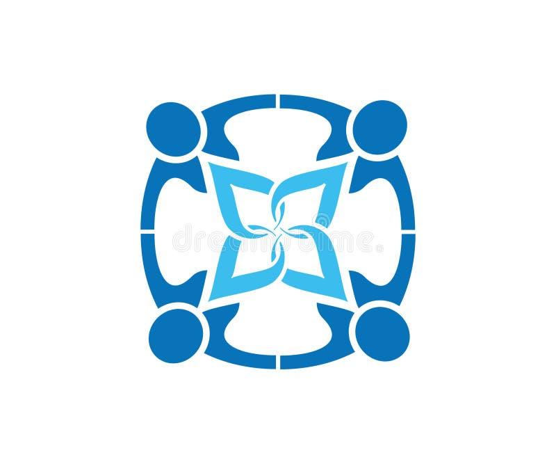 Un logo di cooperazione o di lavoro di squadra per i commerci ed i servizi illustrazione vettoriale
