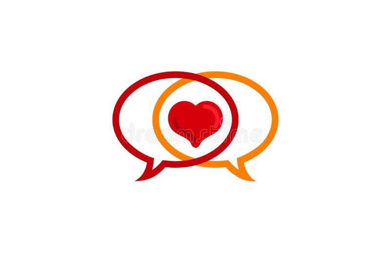 Un logo di due di chiacchierata della bolla amanti del cuore illustrazione di stock