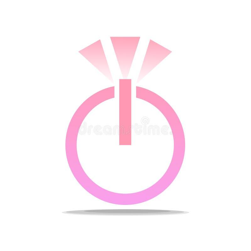 Un logo doux en l'honneur de l'engagement Anneau avec un diamant sous forme de bouton marche images libres de droits