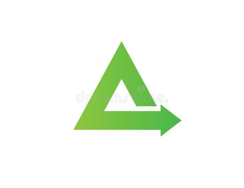 Un logo verde di affari della freccia del triangolo fotografia stock