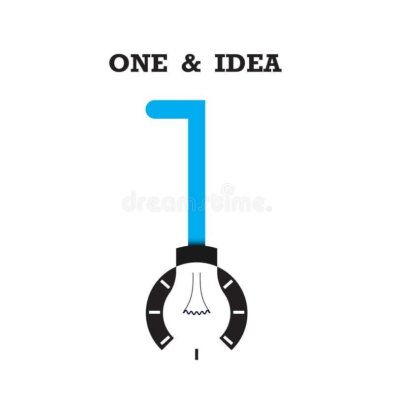 Un logotipo del icono del número y del extracto de la bombilla diseña el templ del vector libre illustration