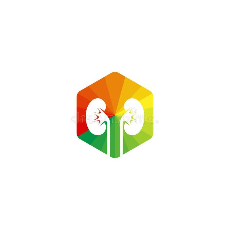 Un logotipo del riñón Icono de la urolog?a muestra colorida del hexágono stock de ilustración