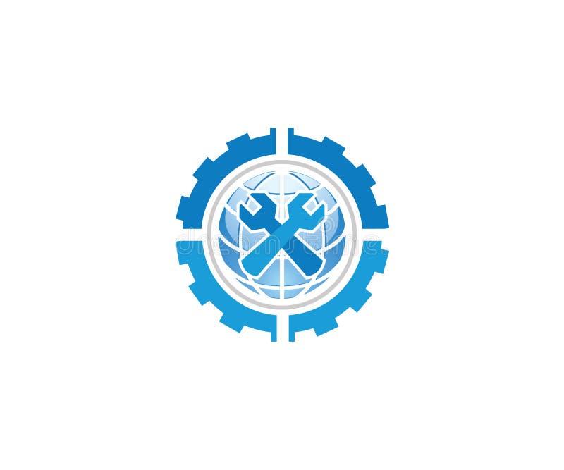 Un logotipo para la compañía mecánica de la maquinaria que comprende de cuatro engranajes dos llaves y un globo todas en color az libre illustration