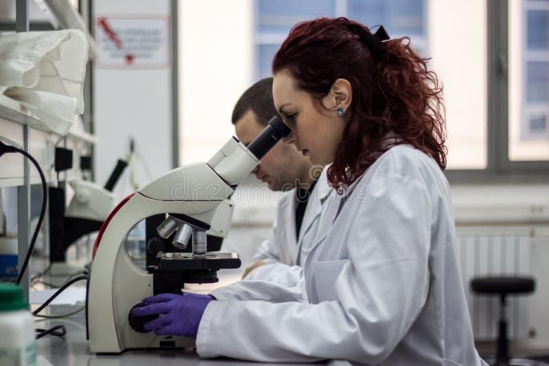 Un lookin médical ou scientifique femelle de docteur de chercheur ou de femme photographie stock libre de droits