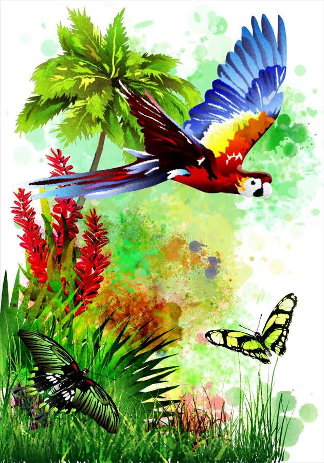 Un loro multicolor con las mariposas en un fondo abstracto de descensos de la pintura stock de ilustración