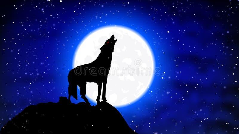Un loup dans la neige hurle à la pleine lune illustration stock