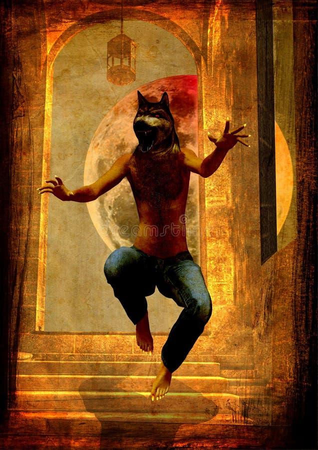 Un loup-homme saute sur les escaliers criant photographie stock