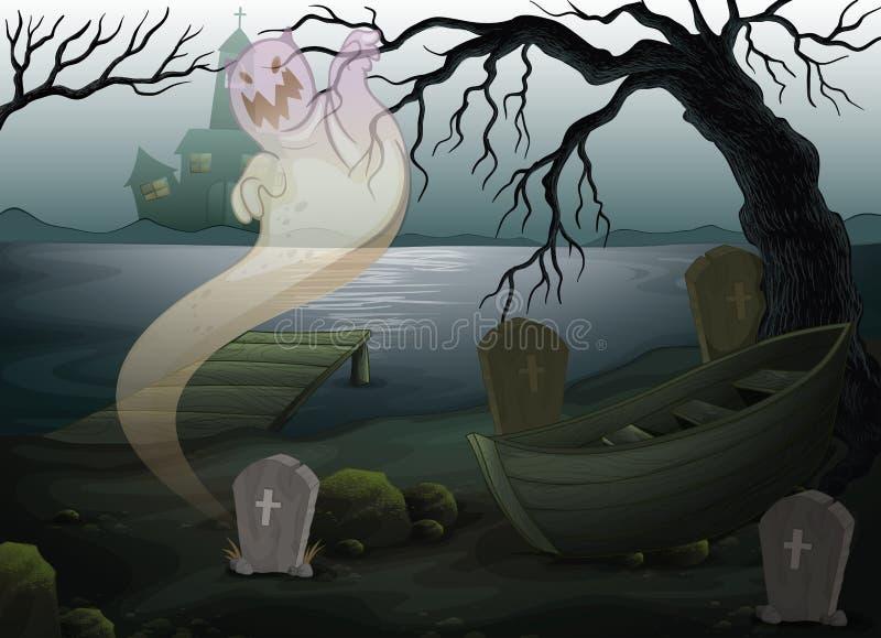 Un lugar asustadizo con un fantasma ilustración del vector