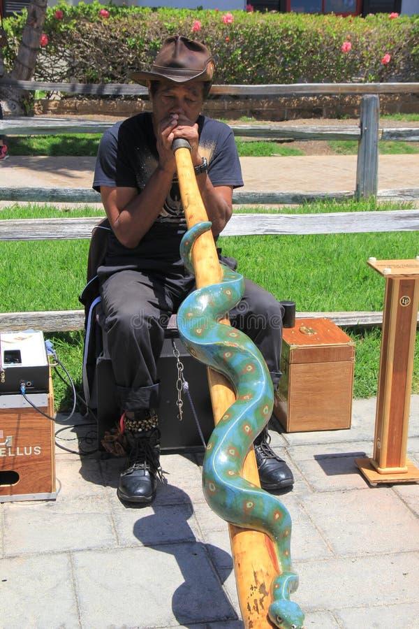 Un más viejo caballero que se sienta en banco en el parque, tocando el instrumento musical, San Diego, California, 2016 fotos de archivo libres de regalías
