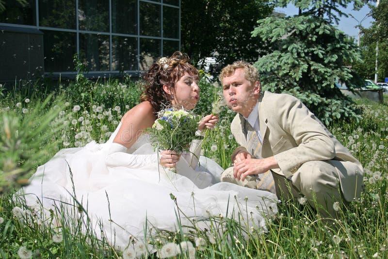 Un ménage marié neuf. photographie stock
