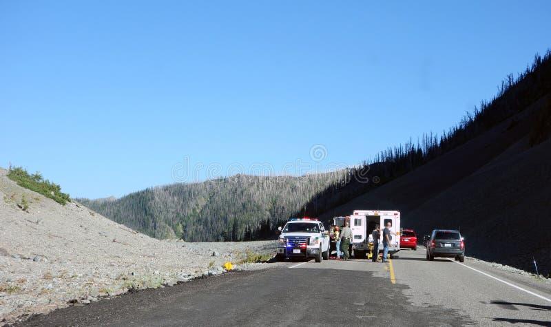 Un mún accidente de la motocicleta en Wyoming foto de archivo