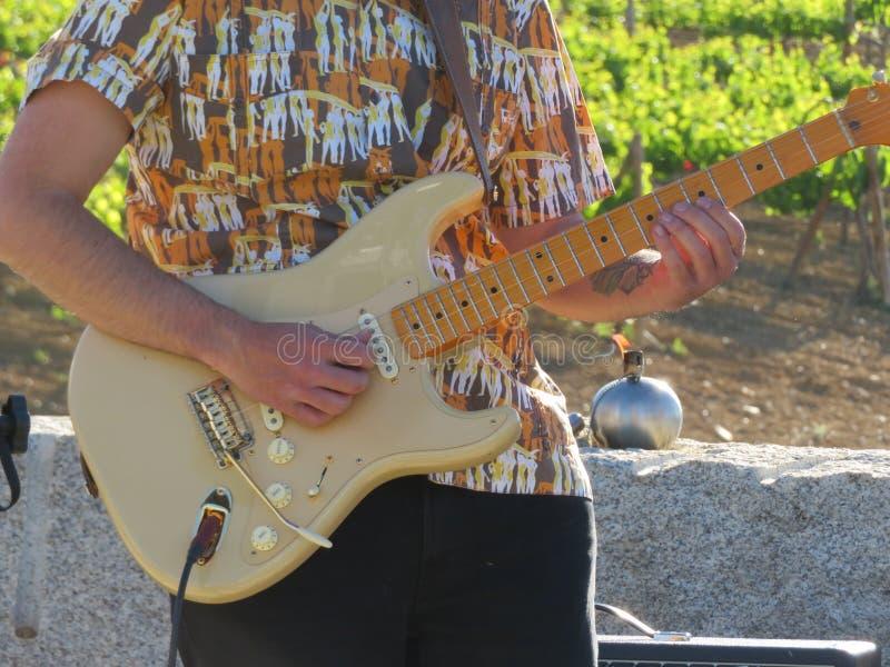 Un músico que toca la guitarra que compone canciones hermosas imagen de archivo