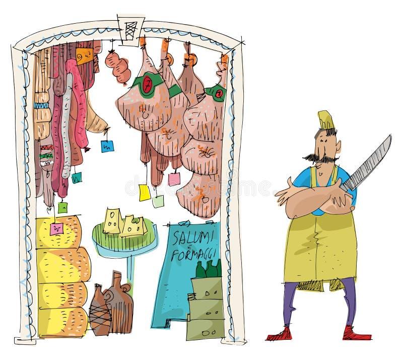 Un magasin de nourriture italien traditionnel illustration de vecteur
