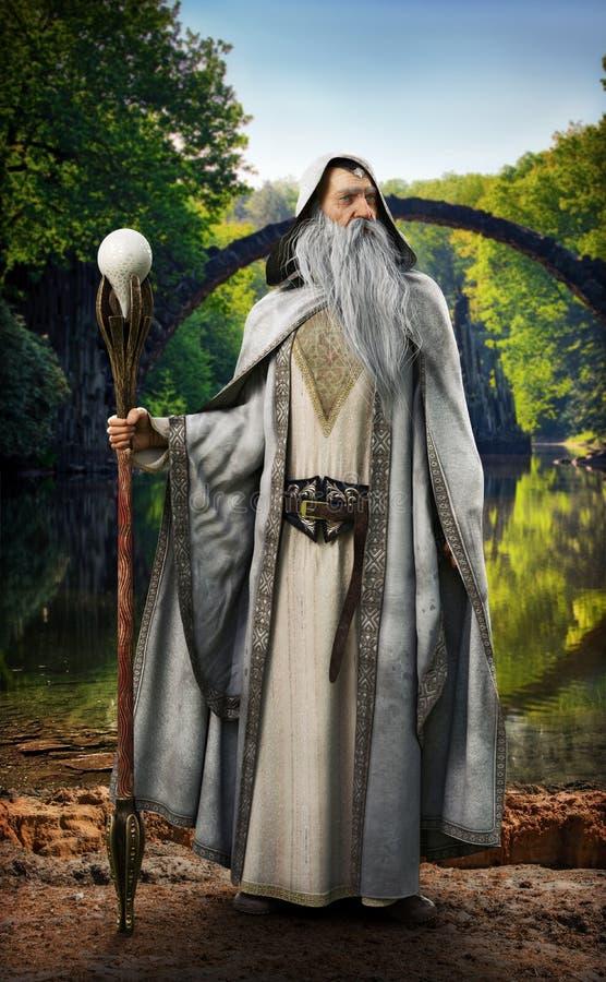 Un magicien blanc légendaire posant devant l'arrangement enchanté mythique illustration stock