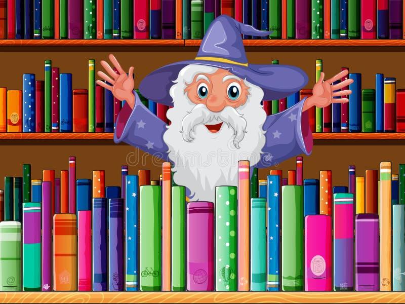 Un mago dentro de la biblioteca ilustración del vector