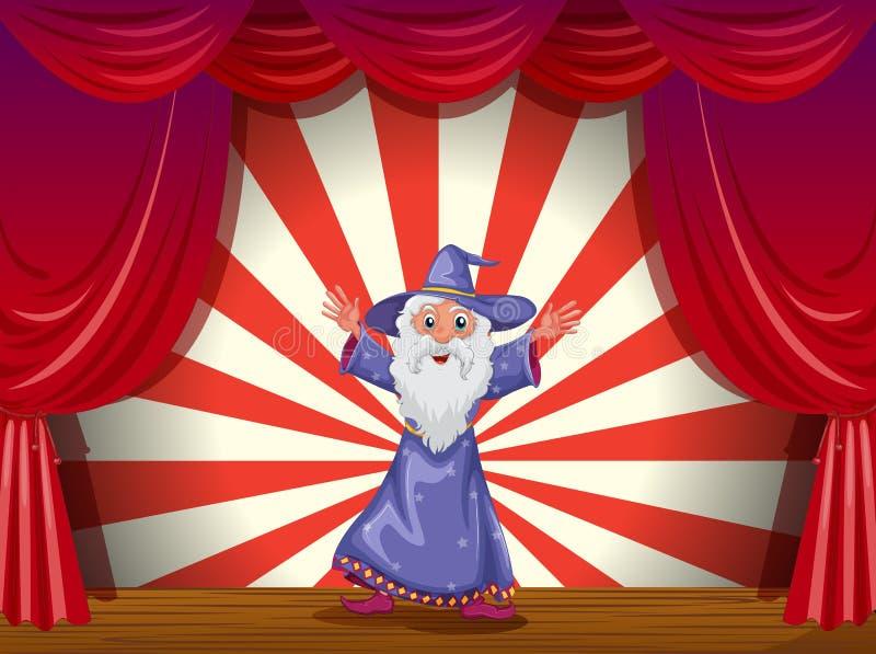 Un mago en el medio de la etapa con una cortina roja ilustración del vector