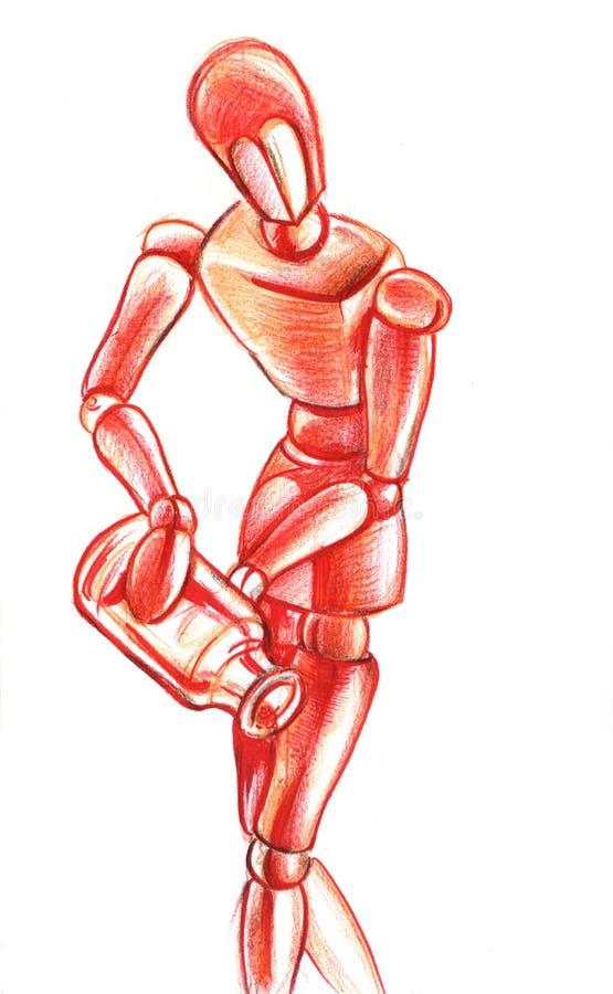 Un manichino di legno rosso Fronte delle donne disegnate a mano di illustration illustrazione vettoriale